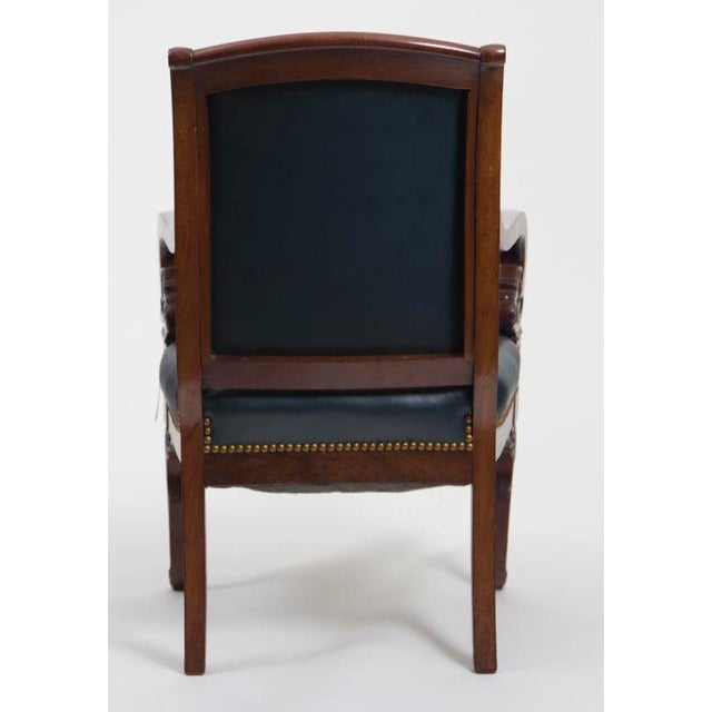 French Antique Mahogany & Leather French Arm Chairs - Set of 6 For Sale - Image 3 of 6
