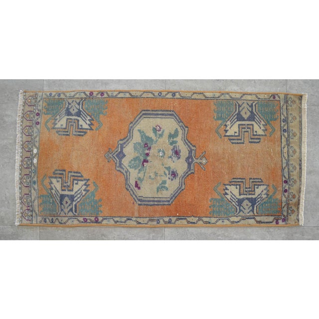 Distressed Low Pile Turkish Yastik Petite Rug Hand Knotted Faded Mat - 21'' X 45'' For Sale - Image 4 of 4