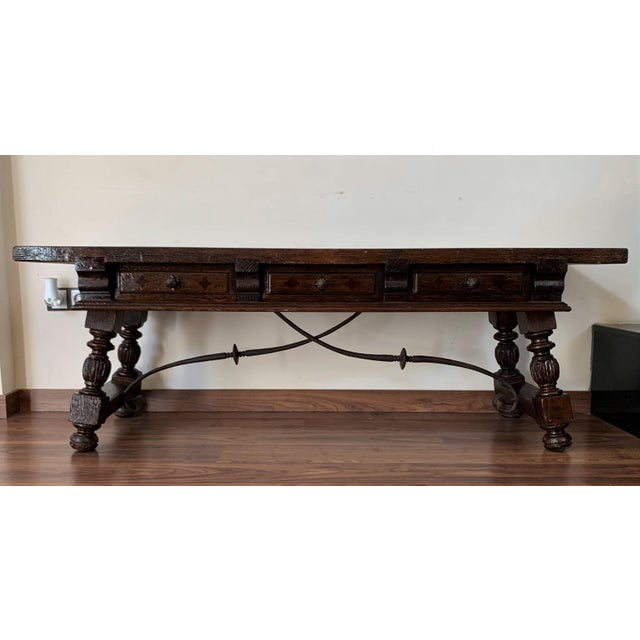 About 19th century Spanish bench or low console table with marquetry drawers Original iron pull hardware and iron...