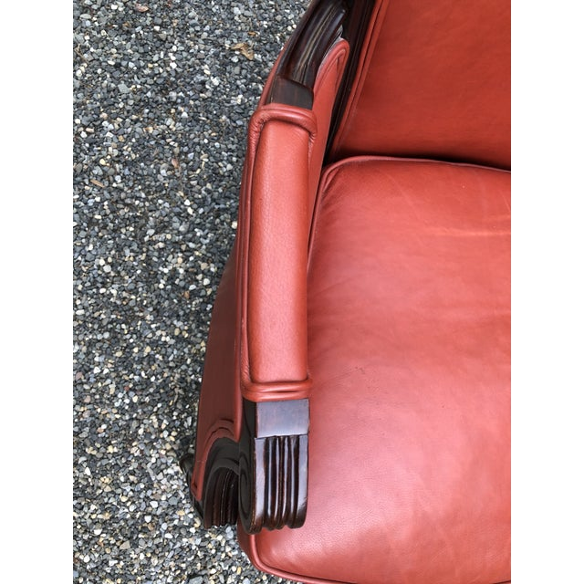 Persimmon Traditional Persimmon Leather Armchair For Sale - Image 8 of 11