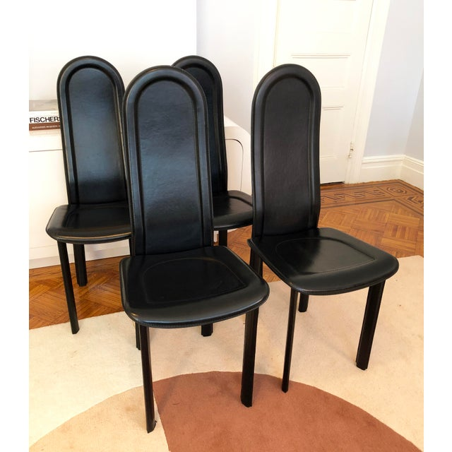 Modern Black Leather Artedi Chairs - Set of 4 For Sale - Image 11 of 11