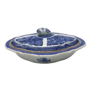 Chinese Export Porcelain Fitzhugh Pattern Covered Vegetable Dish For Sale