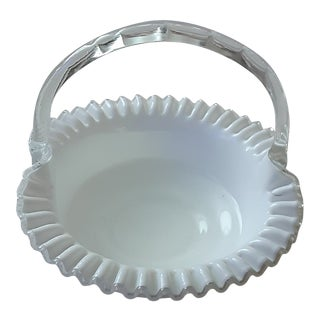 1970s Fenton White Milk Glass Embossed Basket For Sale
