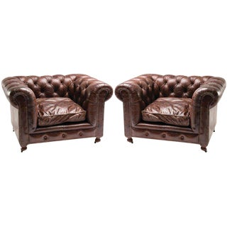 Pair of Large-scale Chesterfield Club Chairs With Distressed Leather For Sale