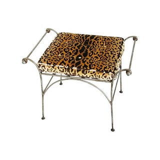 Vintage Iron Italian Bench W/ Scalamandré Leopardo For Sale
