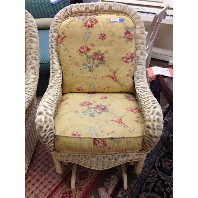 Ethan Allen Off-White Wicker Rocking Chairs - Pair For Sale - Image 5 of 5
