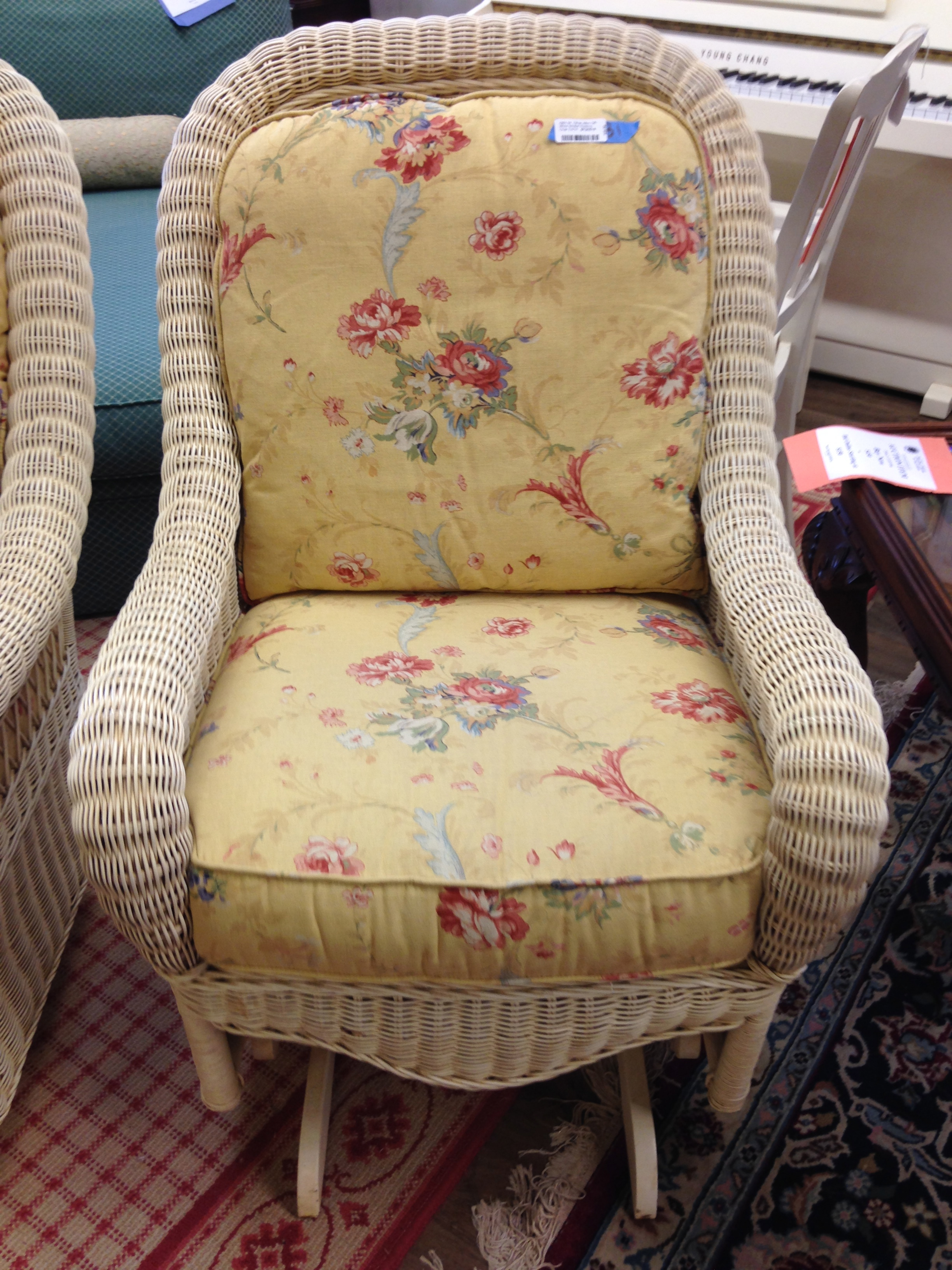 Ethan Allen Off White Wicker Rocking Chairs   Pair   Image 5 Of 5