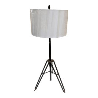 Vintage Industrial Adjustable Height Patina Rust Tripod Lamp with Shade For Sale
