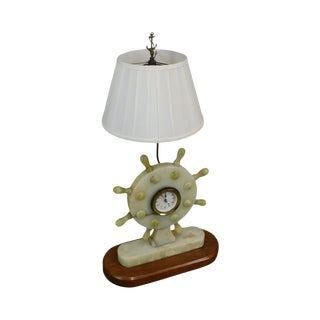 Vintage Nautical Onyx Ships Wheel Table Lamp Clock For Sale