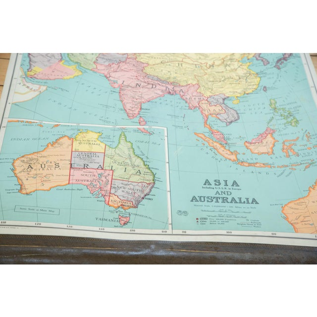 "Very good condition vintage 1930s pull down map of Asia and Australia by Johnston & Nystrom, a part of the ""New Unrivaled..."