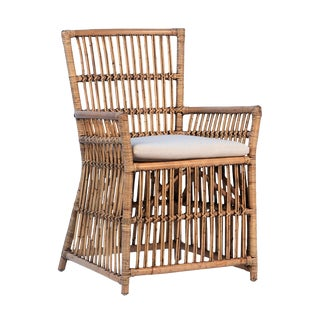 Bamboo & Rattan Dining Arm Chair For Sale