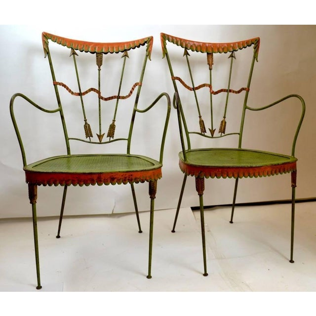 Green Pair of Tomaso Buzzi Wrought Iron Armchairs For Sale - Image 8 of 10