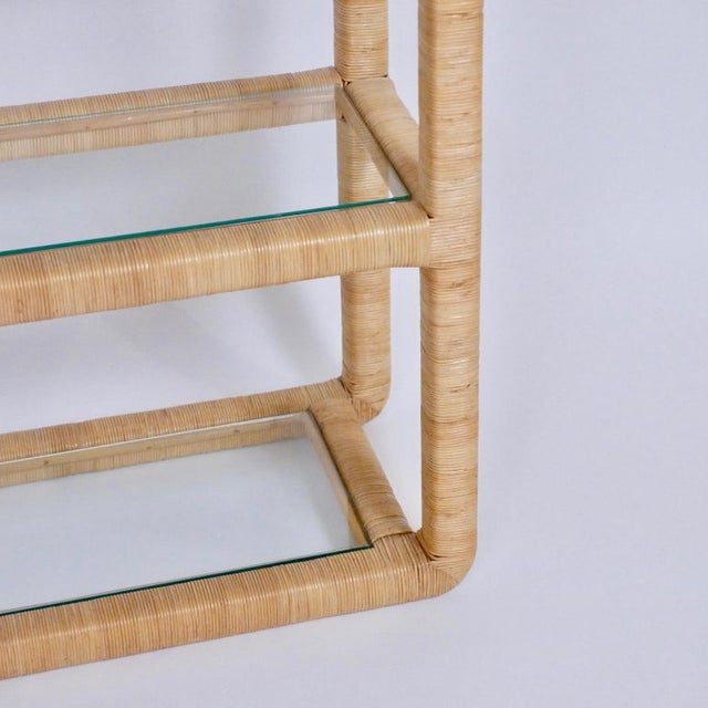 Hollywood Regency Midcentury Regency Rattan Cane and Glass Shelving Units - a Pair For Sale - Image 3 of 11