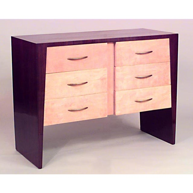 French Art Deco rosewood and sycamore chest of 6 drawers with gilt metal handles
