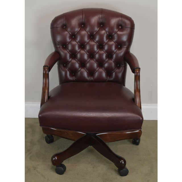Chippendale Oxblood Red Leather Tufted Chesterfield Style Executive Office Desk Chair (E) For Sale - Image 3 of 13
