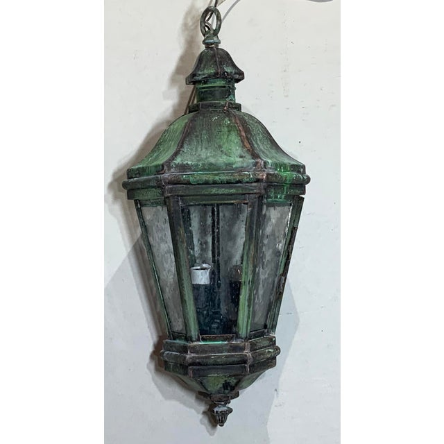 Green 1970s Solid Brass Verdigris Hanging Lantern For Sale - Image 8 of 13