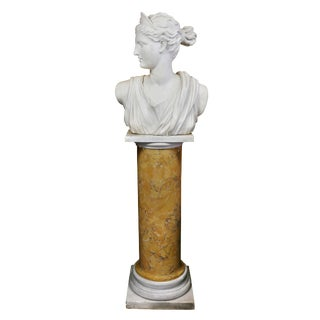 Italian White Marble Bust of Diana on Faux Sienna Marble Base For Sale