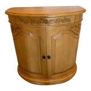 Custom Made Demilune Birch & Alder Wood Cabinet For Sale