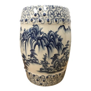Chinese Blue & White Porcelain Garden Stool For Sale