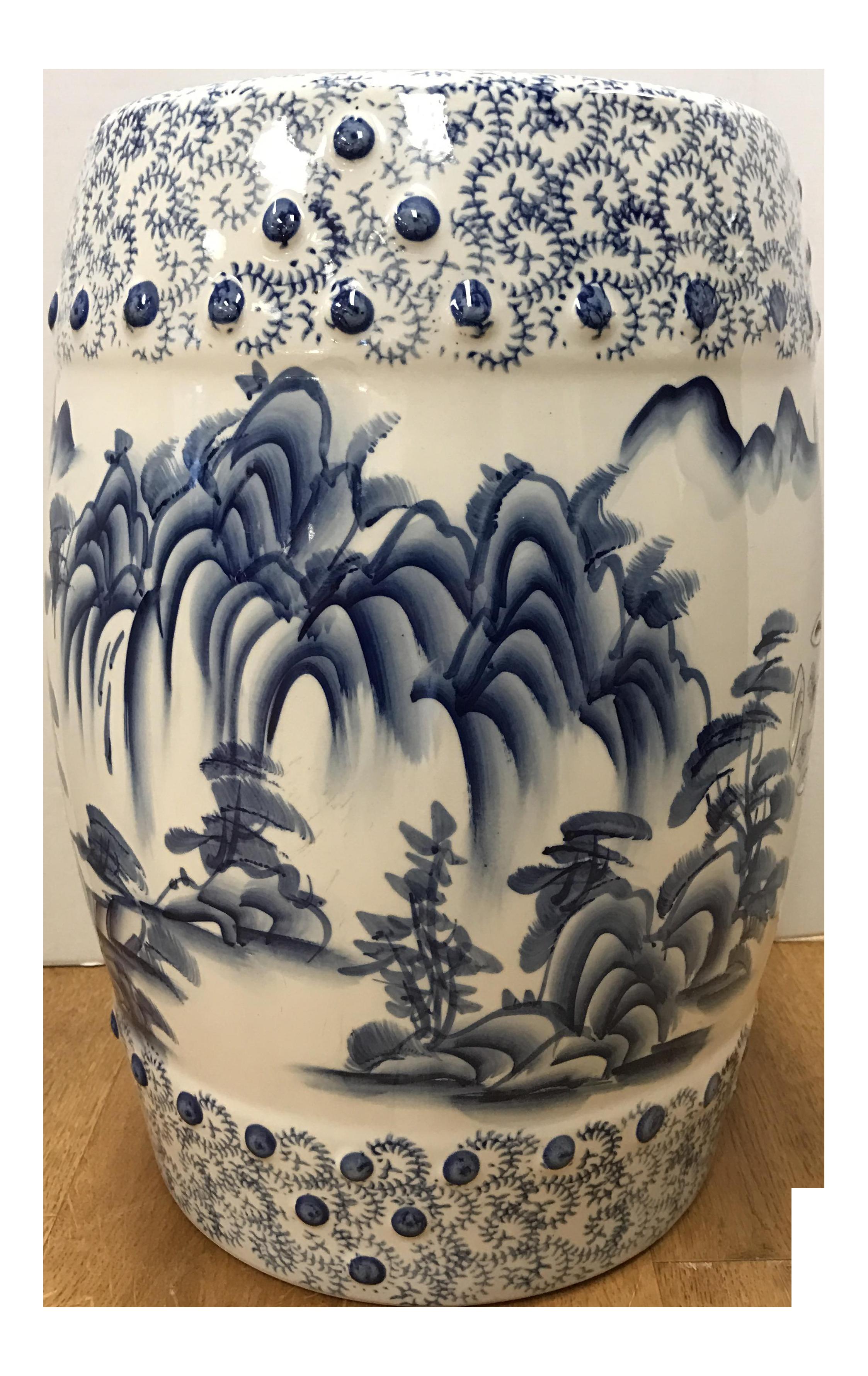 Chinese Blue U0026 White Porcelain Garden Stool For Sale