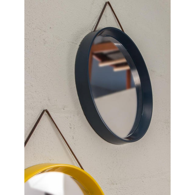 Danish Modern Danish Modern Navy Blue Circular Wall Mirror For Sale - Image 3 of 7