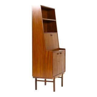 1960s Danish Modern Mahogany Upright Secretary Desk For Sale
