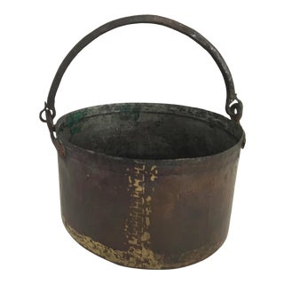 Antique Hand Hammered Copper Kettle With Hand Forged Iron Handle, Signed For Sale