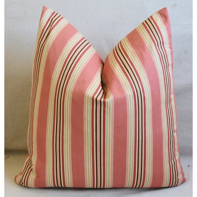 "Early 21st Century French Multi Coral Striped Ticking Feather/Down Pillows 23"" Square - Pair For Sale - Image 5 of 11"