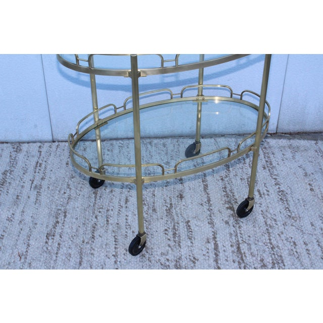 Mid 20th Century Signed Maxwell-Phillips Patinated Brass Bar Cart For Sale - Image 5 of 13