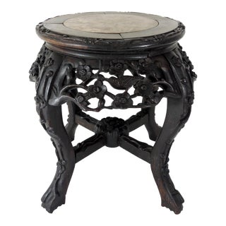 Antique Chinese Marble and Rosewood Stool or Pedestal For Sale