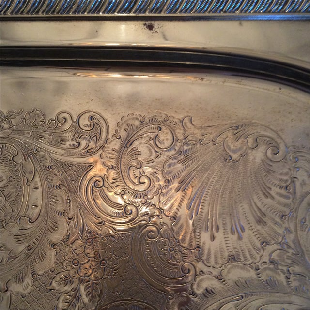 Silverplate Serving Tray For Sale - Image 6 of 11