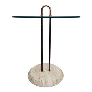 Modernist Italian Travertine & Brass Side Table by Vico Magistretti for Cattelan For Sale