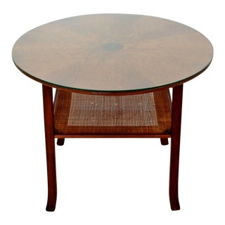 Mid Century Modern Small Danish Wood Cane Round Starburst Coffee Table 1960s For Sale