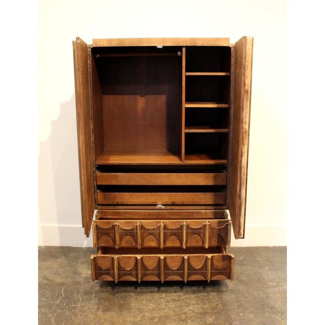 Brutalist 1970s Brutalist Wardrobe Chest on Chest in Natural Walnut, Brasilia Style For Sale - Image 3 of 12