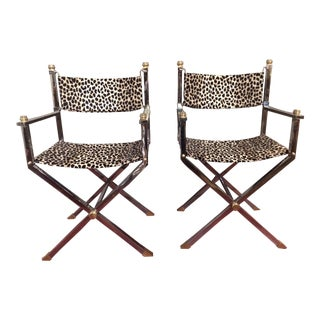 Mid-Century Modern Chrome and Brass Director's Chairs - A Pair