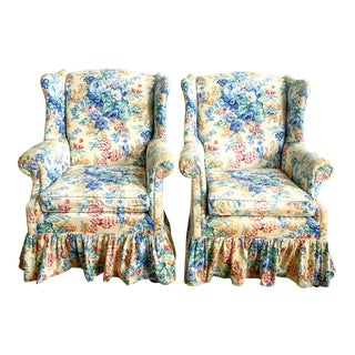 Pair Antique Curved Wing Chairs For Sale