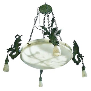 Large Bronze Dragon Chandelier with Spanish Alabaster Shades