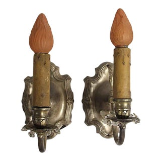 1920s Rococo Silver Finish Wall Sconces For Sale