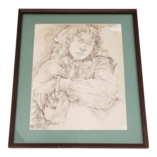 Vintage Pen and Ink Portrait of a Young Man For Sale