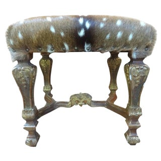 19th Century French Louis XIV Style Gilt Wood Stool For Sale