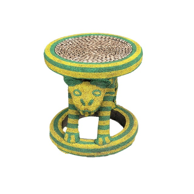 """Figurative Lg African Beaded Wood Bamileke Stool /Table Cameroon 18.5"""" H For Sale - Image 3 of 11"""