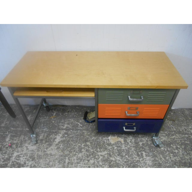 Industrial Mid-Century Industrial Writing Desk & Chair - A Pair For Sale - Image 3 of 6