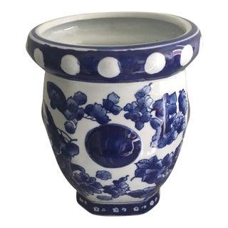 Blue and White Flower and Dot Vase