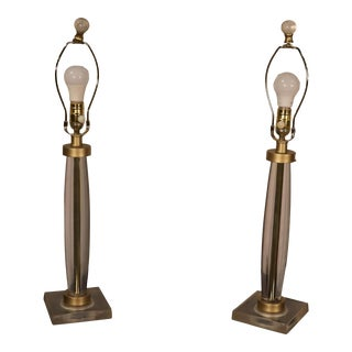 Pair of Clear Lucite or Glass Table Lamps For Sale