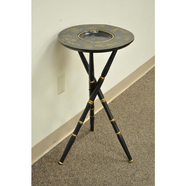 Antique Victorian English Decorated Faux Bamboo Tripod Occasional Side Table - Image 5 of 11