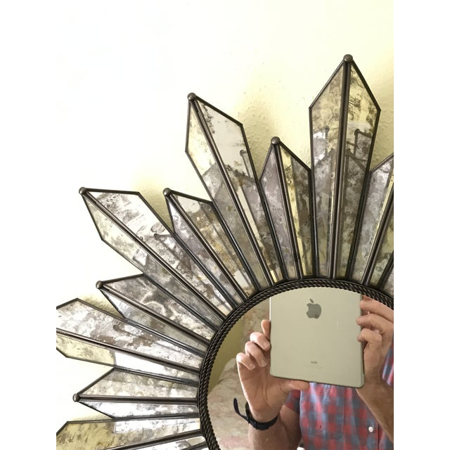 Sunburst Soleil Mirror With Angled Antiqued Mirror Rays For Sale In Dallas - Image 6 of 9