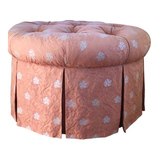 Coral Round Skirted Ottoman For Sale