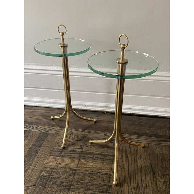 Brass 1950s Cesare Lacca Brass and Glass Drinks Tables - a Pair For Sale - Image 8 of 11