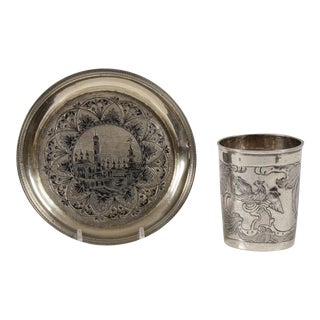 Russian Silver Beaker & Plate, Moscow, 1764-1840 For Sale