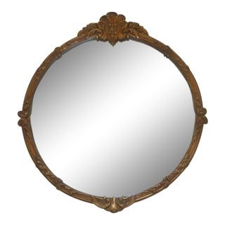 Antique Shell Crest Giltwood Round Mirror For Sale
